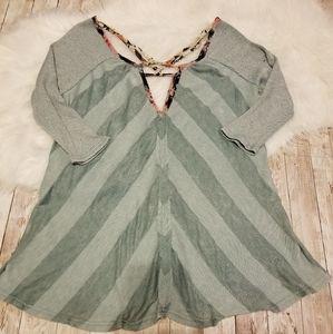 Gimmicks 3/4 length sleeve, green stripe blouse